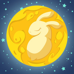 Yellow rabbit in the moon on the blue background