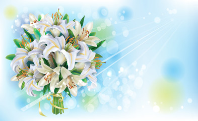 Card with Bouquet of  white lilies