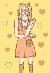 Sketch cute hipster girl in vintage style