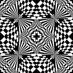 Black and white geometric background, seamless pattern