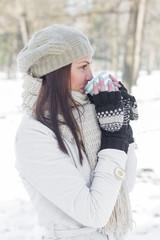 Lovely Female Enjoying Drinking Hot Tea