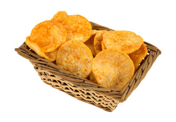 Side View Of Barbecue Chips In A Wicker Basket