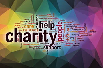 Charity word cloud with abstract background