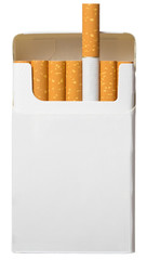 open pack of cigarettes isolated on white background with clippi