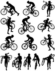 Cyclocross racing vector silhouette