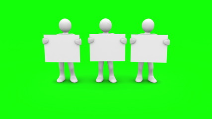 White characters showing blank signs on green screen