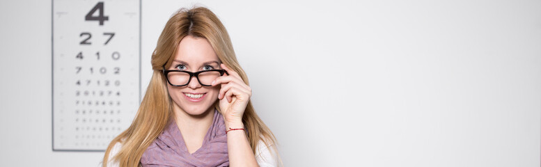 Woman in optician's office