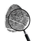 Magnifying glass on Fingerprint
