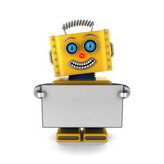 Happy robot holding a blank sign over white background