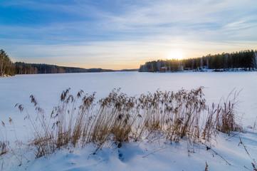 замерзшее озеро с камышом на закате, Урал, Россия
