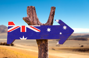 Australia Flag wooden sign with desert background