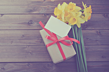 daffodils with gift box