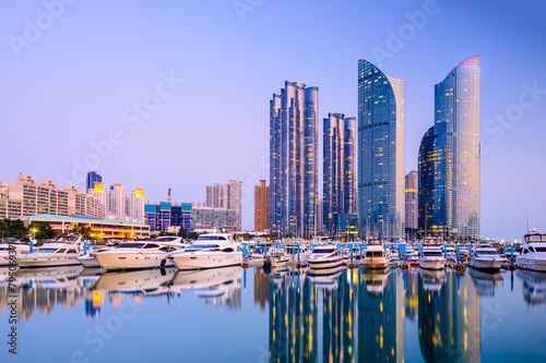 Plexiglas Asia land Busan, South Korea Cityscape in Haeundae District