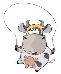 A small cow and a jump rope. Cartoon