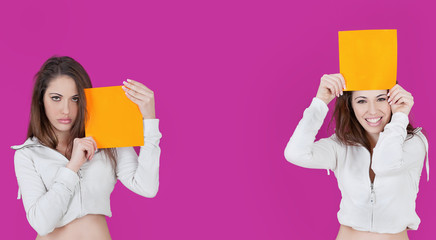 Wallpaper fucsia and orange girl