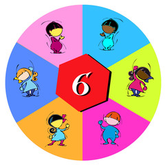 children with number six