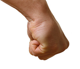 Human hand punching isolated