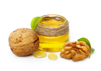 Walnut oil and nuts with leaf i