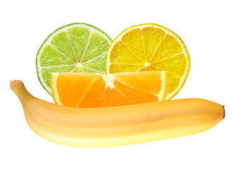 Lemon, lime, orange slices and banana isolated on white