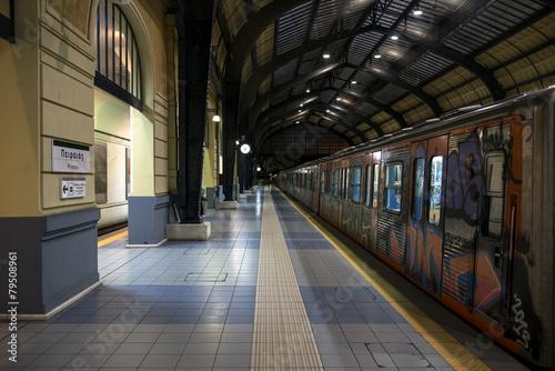 train at metro station awaiting departure - 79508961