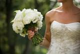 white bride wedding bouquet dress