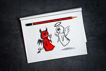 Angel And Devil Doodle Drawing