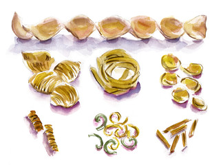Set of drawings of various pasta types on white background