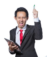 Portrait of young Stressed business man holding tablet and pen