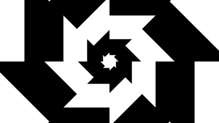 Concentric oncoming abstract symbol, gear teeth eight