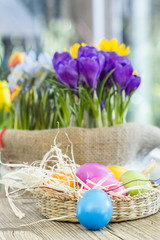 Basket of colorful Easter eggs with spring tulips