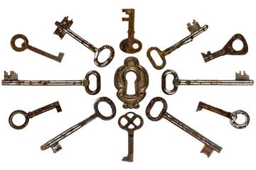 Set of old keys, isolated on white background