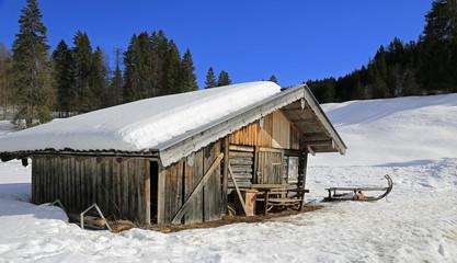 Hütte in den bayerischen Bergen