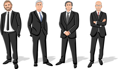 Group of four businessmen wearing suits