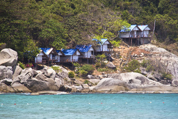 beautiful rocky beach and bungalows, Koh Phangan, Thailand
