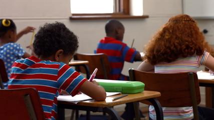 School children writing in classroom