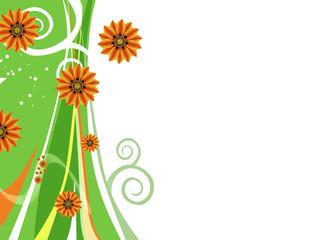 Frühlingsblumen Hintergrund, grüne Wirbel