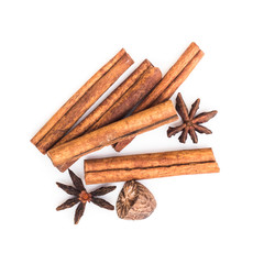 star anise cinnamon and nutmeg isolated