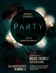 Dark eclipse party invitation poster or flyer template