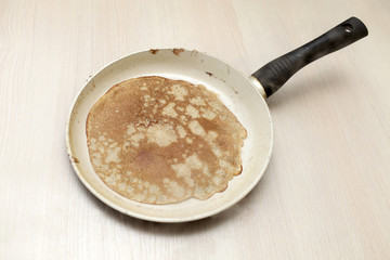 Pancake in a frying pan