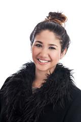 Beautiful young Malaysian woman in winter coat