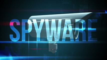CCTV camera with spyware text