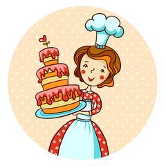 Woman in kitchen. Beautiful baker.