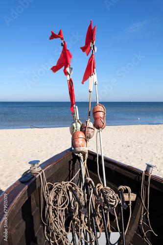 Fishing boat on the beach, Baltic Sea, Germany. - 79515109