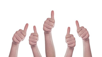 Group of People making Hand Thumbs Up sign for Like