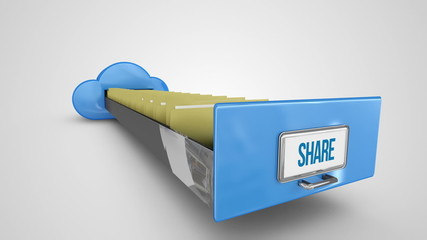 Share filing drawer on white background