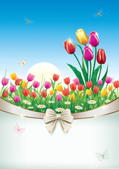 greeting postcard with a floral meadow with tulips
