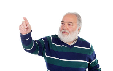 Senior man with white beard pressing something with his finger