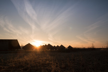 Sonnenaufgang im Solarpark