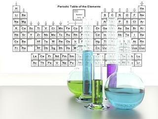 Laboratory glassware with colourful liquids