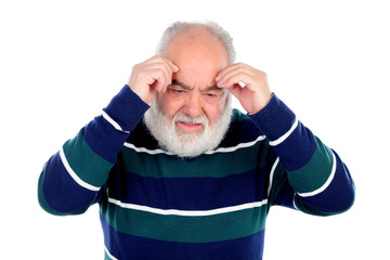 Elderly man with worried gesture